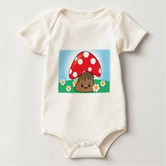 Cute Button Mushroom Baby Bodysuit