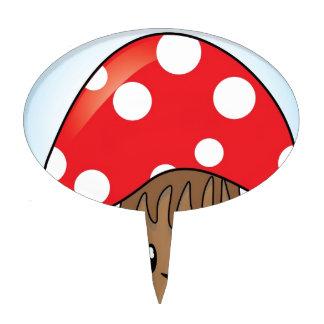 Cute Button Mushroom Cake Topper