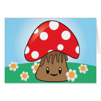Cute Button Mushroom Greeting Card