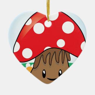 Cute Button Mushroom Ceramic Heart Decoration