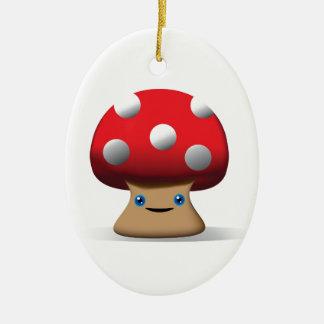 Cute Button Mushroom Ceramic Oval Decoration
