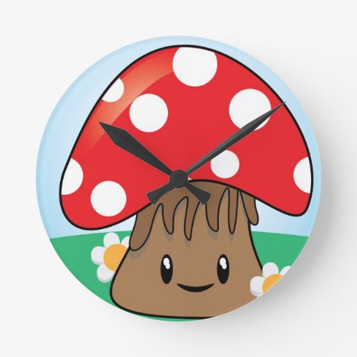 Cute Button Mushroom Wallclocks