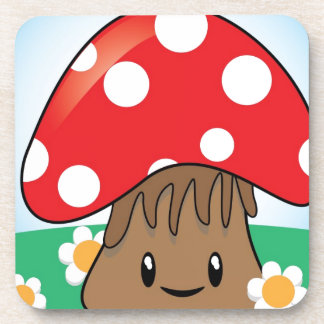Cute Button Mushroom Coaster
