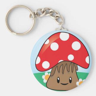 Cute Button Mushroom Key Chain