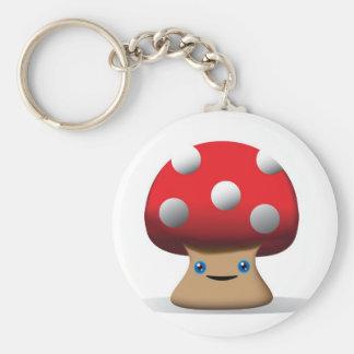 Cute Button Mushroom Key Ring