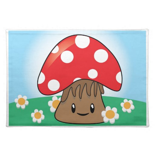 Cute Button Mushroom Placemats