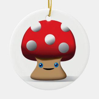 Cute Button Mushroom Round Ceramic Decoration