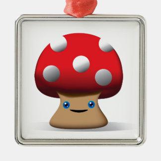 Cute Button Mushroom Silver-Colored Square Decoration