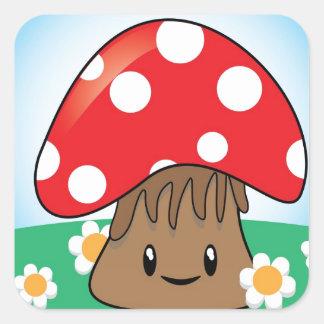 Cute Button Mushroom Square Sticker