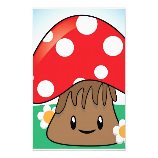 Cute Button Mushroom Personalized Stationery