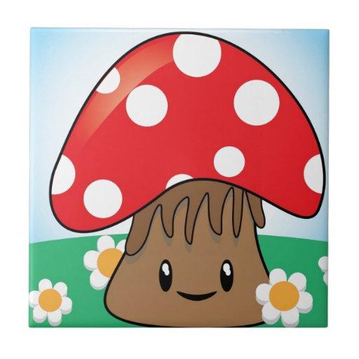 Cute Button Mushroom Tile