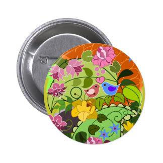 Cute button w love birds retro damsk flowers