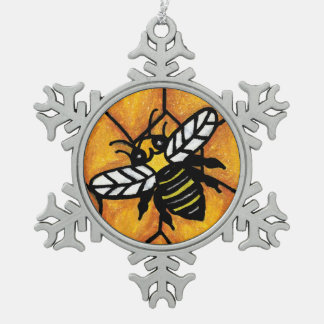 Cute Buzzing Yellow Jacket Bee Honeycomb Snowflake Pewter Christmas Ornament