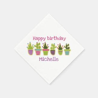 Cute cactus design paper napkin
