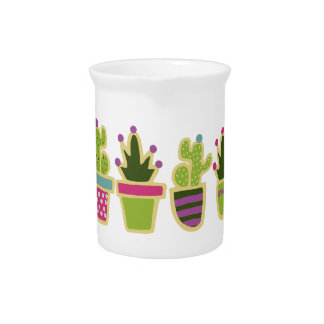 Cute cactus design with custom background pitcher