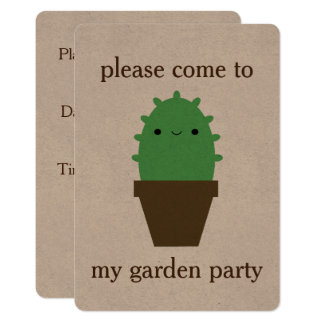 Cute cactus kawaii plant invitation