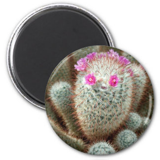 Cute Cactus w/ Pink Flower Face and Cacti Friends 6 Cm Round Magnet