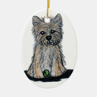 CUTE CAIRN TERRIER decoration birthday Christmas Ceramic Oval Decoration
