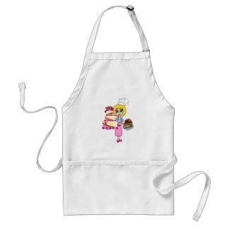 Cute cake maker and cakes cartoon apron - woman