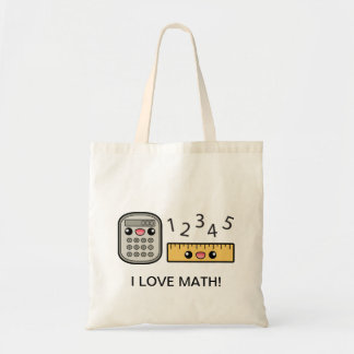 Cute Calculator And Ruler I Love Math Tote Bags