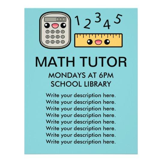 cute calculator and ruler math tutor template flyer zazzle co uk
