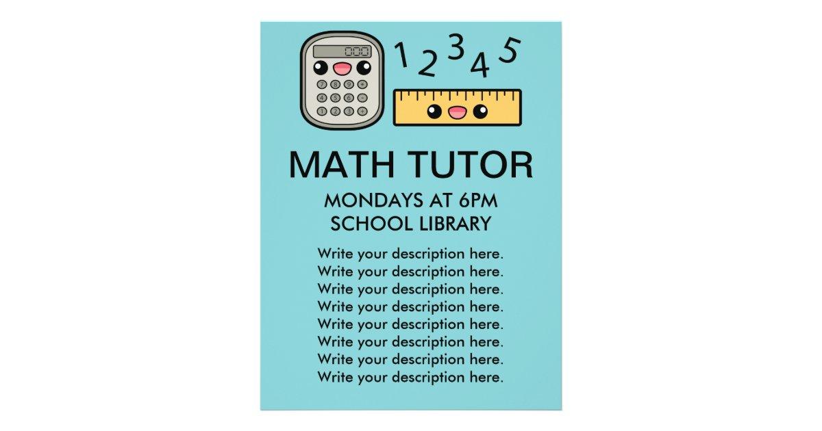 Cute Calculator And Ruler Math Tutor Template Flyer Zazzle