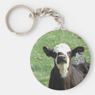 Cute Calf Basic Round Button Key Ring