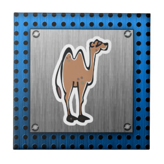 Cute Camel; Metal-look Small Square Tile