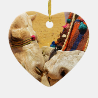 Cute Camels Ceramic Heart Decoration