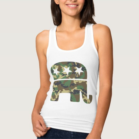 Cute Camouflage Republican Elephant Tank Top