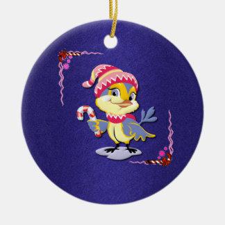 Cute Candy Cane Birdie Ornament