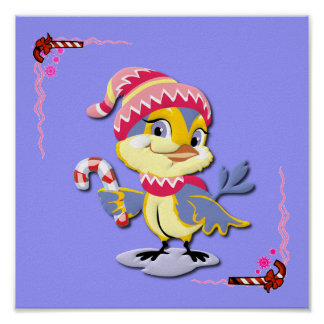 Cute Candy Cane Birdie Print