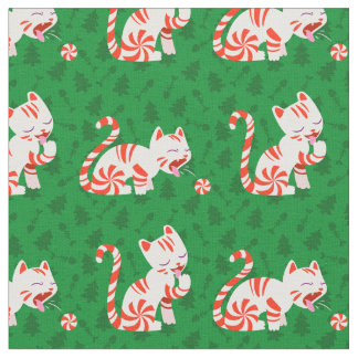 Cute Candy Cane Cat Fabric