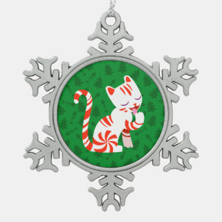 Cute Candy Cane Cat Snowflake Pewter Christmas Ornament