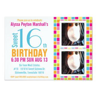 Cute Candy Colors Photo Sweet Sixteen 11 Cm X 16 Cm Invitation Card