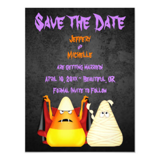 Cute Candy Corn Halloween Wedding Save the Date Magnetic Invitations