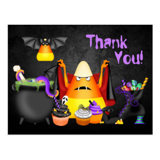 Cute Candy Corn Spooky Treats Halloween Thank You Postcard