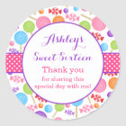 Cute Candy Sweet 16 Birthday Party Favour Classic Round Sticker