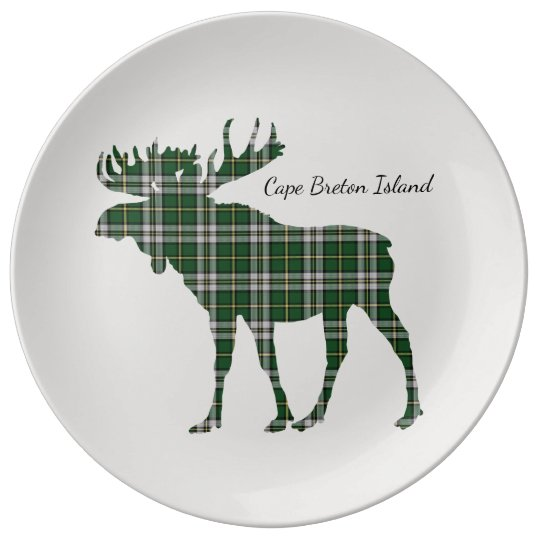 Cute Cape Breton Island moose tartan decor plate