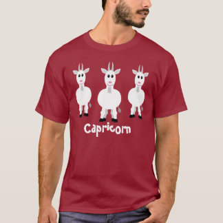 Cute Capricorn Zodiac Goats Customizable Maroon T-Shirt