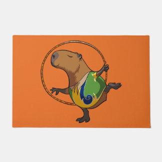 Cute Capybara Rhythmic Gymnastics Hoop Cartoon Doormat