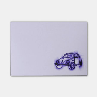 Cute Car Sketch in Purple Post-it Notes