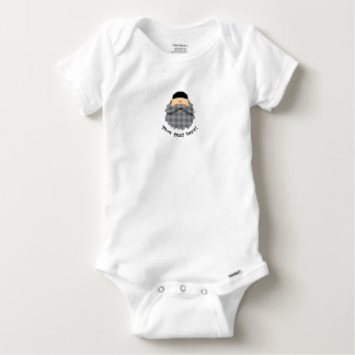 Cute Carcoal Gray Plaid Bearded Character Baby Onesie