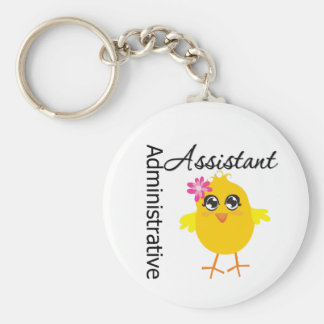 Cute Career Chick Administrative Assistant Basic Round Button Key Ring