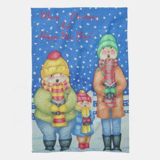 cute carol singers Christmas art kitchen towels