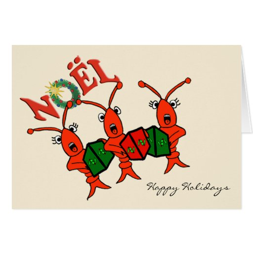 Cute Caroling Crawfish Lobster Christmas Greeting Cards