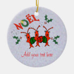 Cute Caroling Crawfish Lobster Christmas Round Ceramic Decoration
