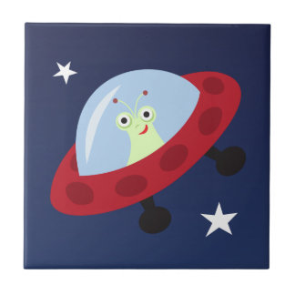 Cute cartoon alien in spaceship tile/gift box small square tile