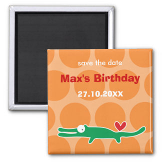 Cute Cartoon Alligator Kid's Birthday Party Magnet