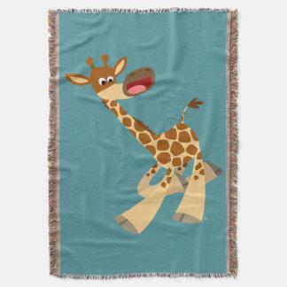 Cute Cartoon Ambling Giraffe Throw Blanket